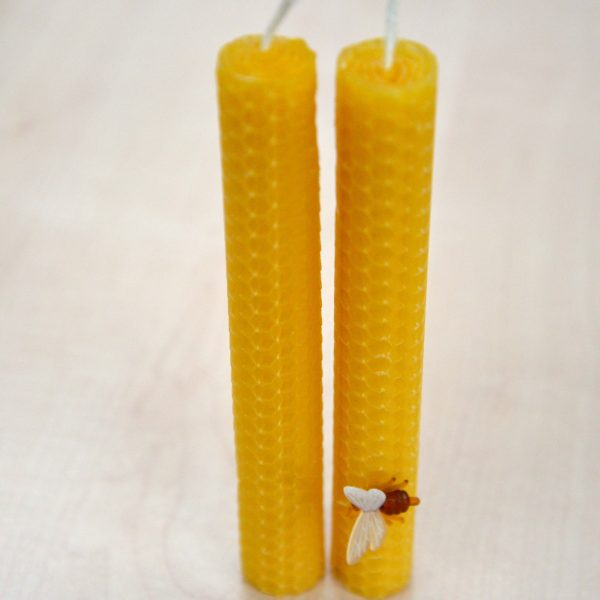 Medium Dinner Candles, Beeswax Honeycomb with FREE Bee Pin! (Pair)