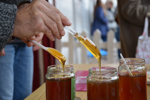 Greek Honey Tasting outside The Hive Honey Shop