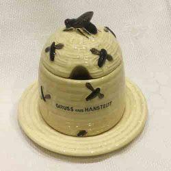 Vintage German 'Basket Beehive' Honeypot