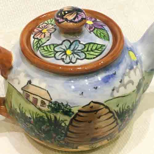 Bespoke-English 'Countryside' Teapot-hand painted